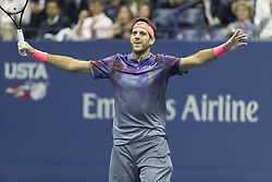 September 6, 2017 - New York, New York, United States - Juan Martin del Potro of Argentina celebrates victory against Roger Federer of Switzerland at US Open Championships at Billie Jean King National Tennis Center (Credit Image: © Lev Radin/Pacific Press via ZUMA Wire)