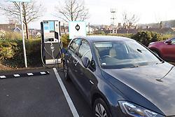 Electric car charging point, Morrisons carpark, Cromer, Norfolk, UK Dec 2020