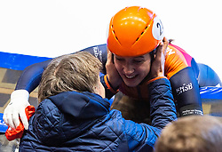 13-01-2019 NED: ISU European Short Track Championships 2019 day 3, Dordrecht<br /> Suzanne Schulting of Netherlands reacts after finishing first in the Ladies 3000m super final during the ISU European Short Track Speed Skating Championships. Jeroen Otter