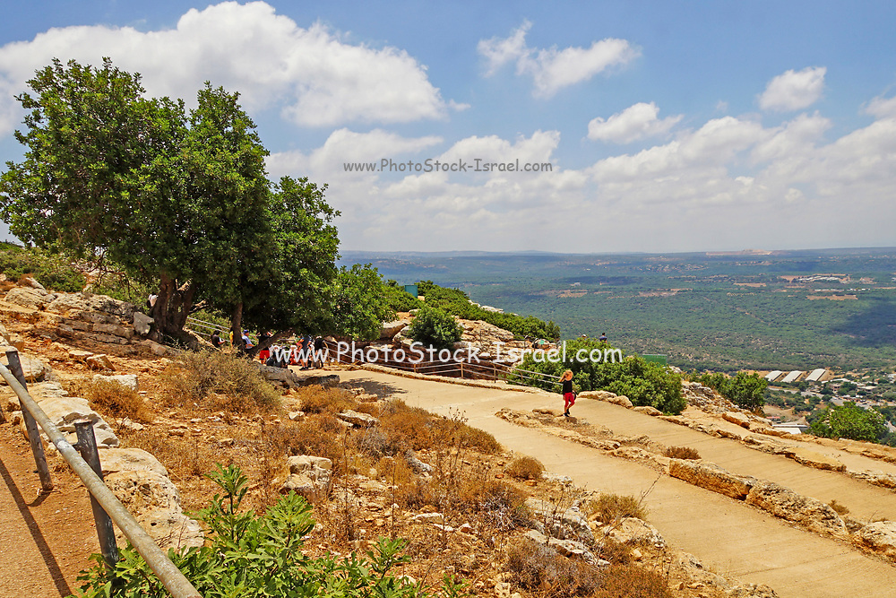 Hikers at the Keshet Cave (Arch Cave) in Adamit Park, Western Galilee, Israel