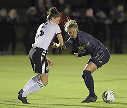 February 20, 2019 - Sheffield, United Kingdom - Danielle Cox (Sheffield United) and Mollie Green (Manchester United) go for the ball during the  FA Women's Championship football match between Sheffield United Women and Manchester United Women at the Olympic Legacy Stadium, on February 20th Sheffield, England. (Credit Image: © Action Foto Sport/NurPhoto via ZUMA Press)