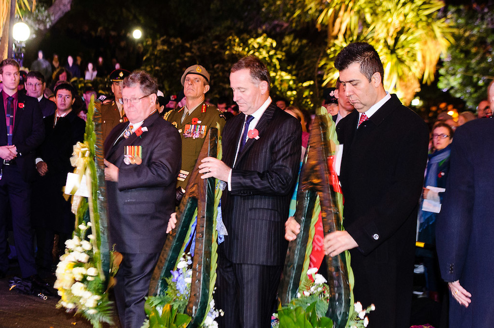 Prime Minister Rt hon John Key prior to the wreath laying ceremony at the  Dawn service of remembrance and hope, 25 April, 2914 Wellington Cenotaph, Lambton Quay. <br /> <br /> Photo by Mark Tantrum   www.marktantrum.com