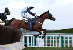Missed Approach ridden by Mr N McParlan jumps the last to win The Fulke Walwyn Kim Muir Challenge Cup Amateur RidersÕ Handicap Chase during St Patrick's Thursday of the 2018 Cheltenham Festival at Cheltenham Racecourse.
