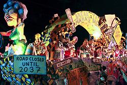 13 Feb 2015. New Orleans, Louisiana.<br /> Mardi Gras. Krewe D'Etat makes its way along Magazine Street.<br /> Photo; Charlie Varley/varleypix.com