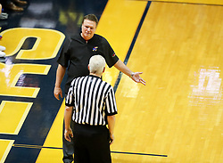 Jan 15, 2018; Morgantown, WV, USA; Kansas Jayhawks head coach Bill Self talks with an official during the first half against the West Virginia Mountaineers at WVU Coliseum. Mandatory Credit: Ben Queen-USA TODAY Sports