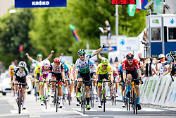 Jon ABERASTURI IZAGA of CAJA RURAL-SEGUROS RGA celebrates and Matej MOHORIC of BAHRAIN VICTORIOUS at finish line during 3rd Stage of 27th Tour of Slovenia 2021 cycling race between Brezice and Krsko (165,8 km), on June 11, 2021 in Slovenia. Photo by Matic Klansek Velej / Sportida