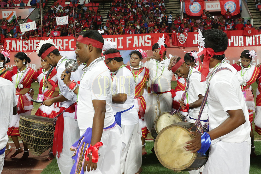 Local dance group performing during match 25 of the Hero Indian Super League 2018 ( ISL ) between Jamshedpur FC and FC Goa held at JRD Tata Sports Complex, Jamshedpur, India on the 1st November  2018<br /> <br /> Photo by Saikat Das /SPORTZPICS for ISL