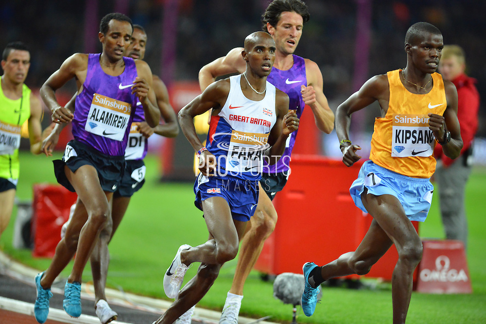 Mo Farah in the mens 3000m at the Sainsbury's Anniversary Games at the Queen Elizabeth II Olympic Park, London, United Kingdom on 24 July 2015. Photo by Mark Davies.