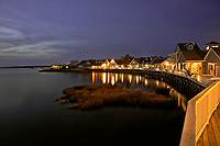 NC01265-00...NORTH CAROLINA - Lights along the boardwalk traversing the shores of Currituck Sound at tourist oriented town of Duck.