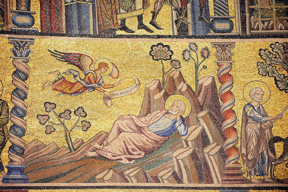 The Medieval mosaics of the ceiling of The Baptistry of Florence Duomo ( Battistero di San Giovanni ) showing an Angel telling Joseph in his dreams to take Mary and the baby Jesus to Egypt,  started in 1225 by Venetian craftsmen in a Byzantine style and completed in the 14th century. Florence Italy .<br /> <br /> If you prefer you can also buy from our ALAMY PHOTO LIBRARY  Collection visit : https://www.alamy.com/portfolio/paul-williams-funkystock/byzantine-art-antiquities.html . Type -   Florence   - into the LOWER SEARCH WITHIN GALLERY box. Refine search by adding subject etc<br /> <br /> Visit our BYZANTINE ART PHOTO COLLECTION for more   photos  to download or buy as prints https://funkystock.photoshelter.com/gallery-collection/Roman-Byzantine-Art-Artefacts-Antiquities-Historic-Sites-Pictures-Images-of/C0000lW_87AclrOk .<br /> <br /> Visit our ITALY PHOTO COLLECTION for more   photos of Italy to download or buy as prints https://funkystock.photoshelter.com/gallery-collection/2b-Pictures-Images-of-Italy-Photos-of-Italian-Historic-Landmark-Sites/C0000qxA2zGFjd_k<br /> .<br /> <br /> Visit our MEDIEVAL PHOTO COLLECTIONS for more   photos  to download or buy as prints https://funkystock.photoshelter.com/gallery-collection/Medieval-Middle-Ages-Historic-Places-Arcaeological-Sites-Pictures-Images-of/C0000B5ZA54_WD0s
