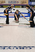 """Glasgow. SCOTLAND. Scotland's, Lauren GRAY, approaching the """"Hog Line"""" with her """"Stone"""" during the  Le Gruyère European Curling Championships. round robin match between Scotland vs Sweden at the  2016 Venue, Braehead  Scotland<br /> Sunday  20/11/2016<br /> <br /> [Mandatory Credit; Peter Spurrier/Intersport-images]"""
