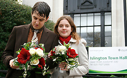 """Heterosexual couple, Tom Freeman and Katherine Doyle challenge the ban on straight civil partnerships at Islington Register Office London. Tuesday, 9 November. ..An islington spokesperson said: """" Like all councils we mus follow the requirements of the Civil Partnership Act of 2004, which sates that to qualify for a civil partnership, couples must be of the same sex. Whilst we can't legally accept the proposed civil partnership, we would be delighted to offer the couple a civil marriage"""".© under license to London News Pictures. 09/11/2010"""