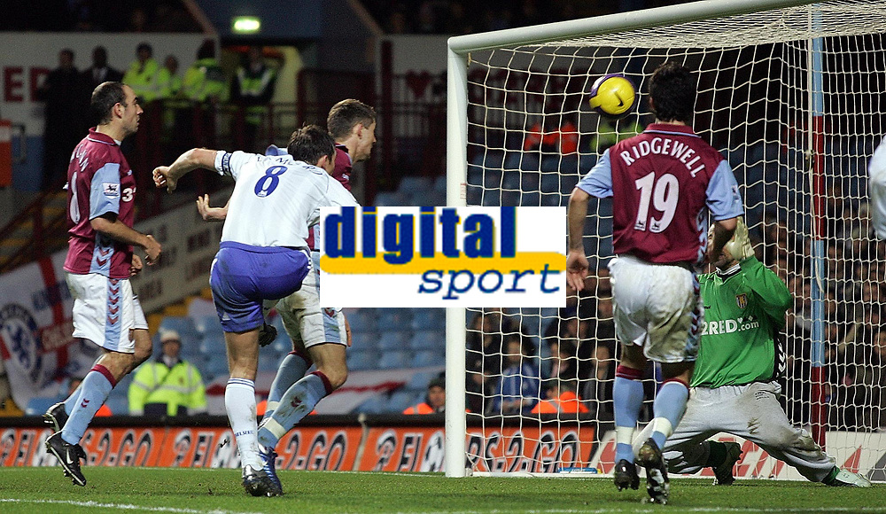 Photo: Paul Thomas.<br /> Aston Villa v Chelsea. The Barclays Premiership. 02/01/2007.<br /> <br /> Frank Lampard (White 8) of Chelsea fires a great chance to score in injury time over the cross bar.