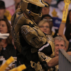 2008 October, 12: A New Orleans Saints fan dressed as Master Chief from the Halo video game series during a week six regular season game between the Oakland Raiders and the New Orleans Saints at the Louisiana Superdome in New Orleans, LA.