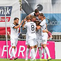 01.08.2020, C-Team Arena, Ravensburg, GER, WFV-Pokal, FV Ravensburg vs SSV Ulm 1846 Fussball, <br /> DFL REGULATIONS PROHIBIT ANY USE OF PHOTOGRAPHS AS IMAGE SEQUENCES AND/OR QUASI-VIDEO, <br /> im Bild Torjubel, Nicolas Jann (Ulm, #21), Adrian Beck (Ulm, #8), Vinko Sapina (Ulm, #22), Johannes Reichert (Ulm, #5), Tobias Rühle / Ruehle (Ulm, #31), Felix Higl (Ulm, #24)<br /> <br /> Foto © nordphoto / Hafner