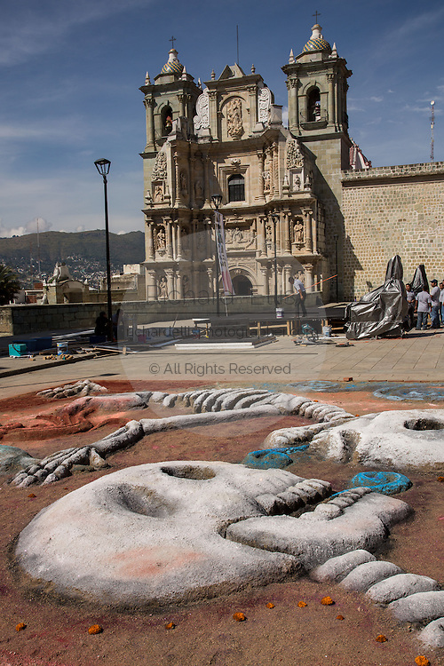 Elaborate sand sculptures of skeletons in front of the Solitude Basilica to celebrate the Day of the Dead Festival known in spanish as Día de Muertos on November 2, 2013 in Oaxaca, Mexico.