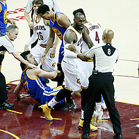 09 June 2017: Incident between Golden State Warriors center Zaza Pachulia (27) and Cleveland Cavaliers guard Iman Shumpert (4) while Cleveland Cavaliers forward LeBron James (23) holds referee Marc Davis (8) during the Cleveland Cavaliers 137-11 victory over the Golden State Warriors, in game 4 of the 2017 NBA Finals, at  the Quicken Loans Arena, Cleveland, Ohio, USA.