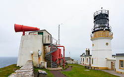 View of Sumburgh Lighthouse and foghorn at Sumburgh Head on Shetland, Scotland, UK