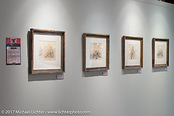 Pen and ink illustrations by Kayla Koeune on display in the Old Iron - Young Blood exhibition in the Motorcycles as Art gallery at the Buffalo Chip during the annual Sturgis Black Hills Motorcycle Rally. Sturgis, SD. USA. Tuesday August 8, 2017. Photography ©2017 Michael Lichter.