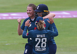 June 15, 2018 - Canterbury, England, United Kingdom - Anya Shrubsole of England Women celebrate LBW on Lizelle Lee South Africa Women.during Women's One Day International Series match between England Women against South Africa Women at The Spitfire Ground, St Lawrence, Canterbury, on 15 June 2018  (Credit Image: © Kieran Galvin/NurPhoto via ZUMA Press)