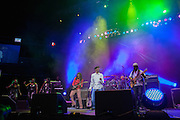 Beres Hammond and his band at The Biolife Sounds of Reggae at the Barclays Center.