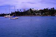 Yachts at moorings Port Antonio, Jamaica, West Indies in 1990
