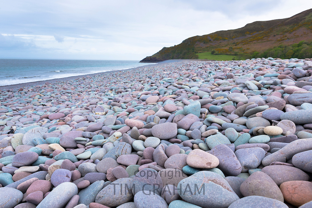 Pastel shades of pebbly beach at Bossington in Somerset, UK