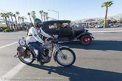 Victor Hugas of Texas riding his Class I single-cylinder single-speed 1913 Harley-Davidson during the Motorcycle Cannonball Race of the Century. Stage-15 ride from Palm Desert, CA to Carlsbad, CA. USA. Sunday September 25, 2016. Photography ©2016 Michael Lichter.