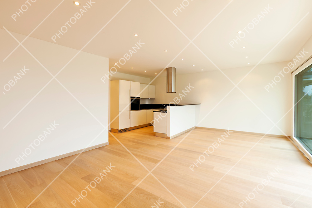 new apartment, large room with kitchen island