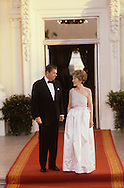 President Ronald Reagan and First Lady Nancy Reagan wait for Chancelllor Helmut Schmidt to arrive for a state dinner in June 1981,..Photograph by Dennis Brack BB23