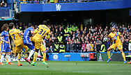 Chelsea's Pedro sees his shot hit Crystal Palace's Andros Townsend's arm during the Premier League match at the Stamford Bridge Stadium, London. Picture date: April 1st, 2017. Pic credit should read: David Klein/Sportimage via PA Images