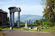 View to Sabine Hills from the Roman archaeological site at Hadrian's Villa, Rome,Tivoli, Italy 1974
