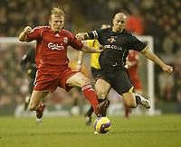 Photo: Aidan Ellis.<br /> Liverpool v Watford. The Barclays Premiership. 23/12/2006.<br /> Liverpool's Dirk Kuyt and Gavin Mahon