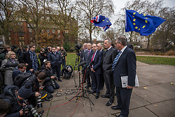 © Licensed to London News Pictures. 05/12/2017. London, UK. Nigel Dodds MP (centre-right), Deputy Leader of the DUP, speaks to the media in Victoria Gardens after Prime Minister Theresa May failed to secure a Brexit deal in Brussels on Monday 4 December 2017. Photo credit: Rob Pinney/LNP