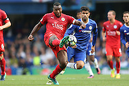 Wes Morgan, the Leicester City captain in action (l) with Diego Costa of Chelsea looking on.Premier league match, Chelsea v Leicester city at Stamford Bridge in London on Saturday 15th October 2016.<br /> pic by John Patrick Fletcher, Andrew Orchard sports photography.