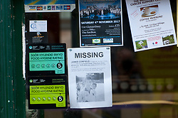 © Licensed to London News Pictures. 27/07/2017. Builth Wells, Powys, Wales, UK. Signs are posted everywhere for missing person James Corfield. Mountain Rescue Teams search in the River Wye at Builth Wells in Powys, Wales, UK. for missing nineteen-year-old teenager James Corfield who was last seen at The White Horse Pub in Builth Wells on Monday the 24th July 2017. The White Horse pub is one of the main venues where visitors to The Royal Welsh Show congregate to listen to music and party. Another big (temporary during show week) venue is the YFC (Young Farmers Club) Young People's Village  one and a half  miles north of Builth Wells on the A470 road, and on the opposite side of the river Wye to the White Horse pub. Locals have speculated that James Corfield might have made his way to the Young People's Village along the river bank which would have involved a swim across the river. Between Builh Wells and The Young people's Village there is a notorious danger area called The Hell Hole. Photo credit: Graham M. Lawrence/LNP