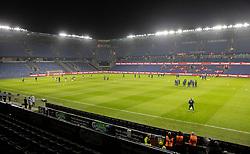 Et kig ud over stadion før venskabskampen mellem Danmark og Sverige den 11. november 2020 på Brøndby Stadion (Foto: Claus Birch).