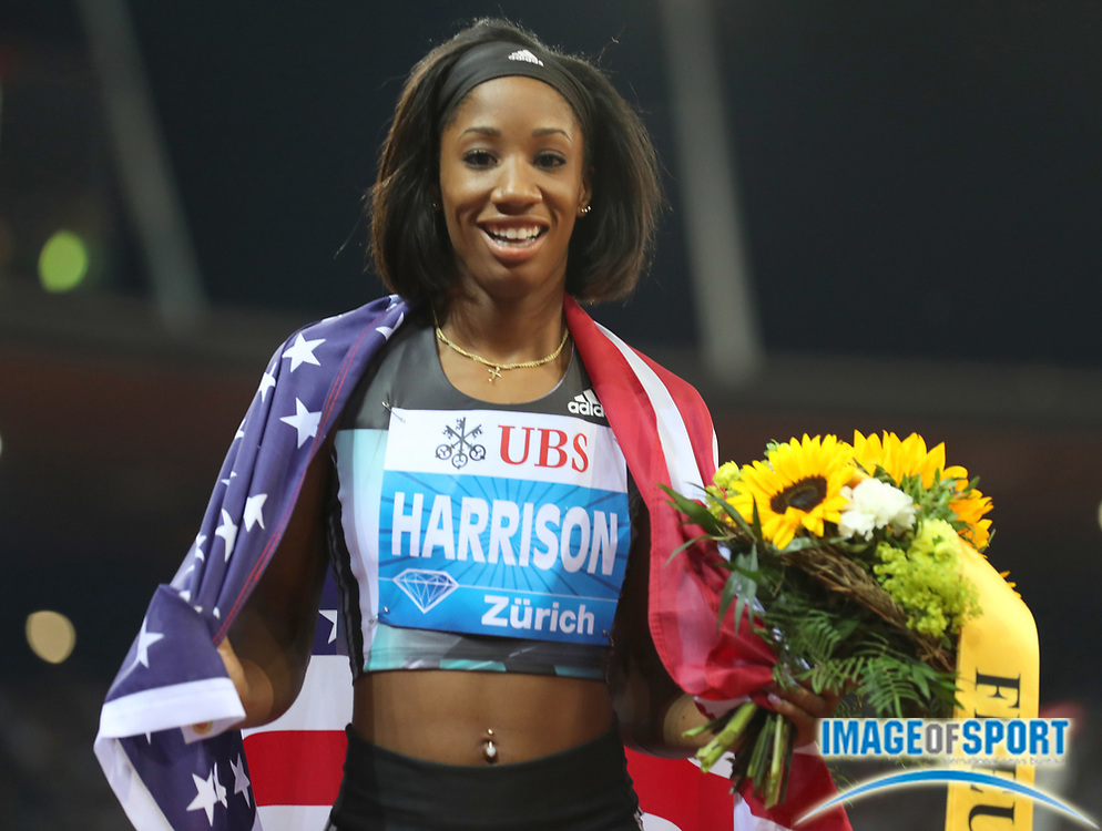 Sep 1, 2015; Zurich, SWITZERLAND; Kendra Harrison (USA) poses with United States flag after winning the women's 100m hurdles at the 2016 Weltklasse Zurich during an IAAF Diamond League meeting at Letzigrund Stadium. Photo by Jiro Mochizuki