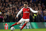 Shkodran Mustafi of Arsenal in action. Carabao Cup , semi final 1st leg match, Chelsea v Arsenal at Stamford Bridge in London on Wednesday 10th January 2018.<br /> pic by Steffan Bowen, Andrew Orchard sports photography.