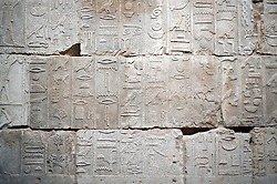 Egyptian hieroglyphics on display at Neues Museum or New Museum on Museumsinsel or Museum Island in Berlin