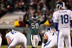 Philadelphia Eagles linebacker Ernie Sims #50 motions to the crowd during the NFL Game between the Indianapolis Colts and the Philadelphia Eagles. The Eagles won 26-24 at Lincoln Financial Field in Philadelphia, Pennsylvania on Sunday November 7th 2010. (Photo By Brian Garfinkel)