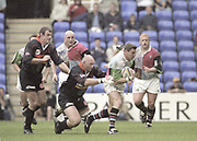 Reading, England, Darren O'LEARY with the ball [L] Keith WOOD, [R] Jon DAWSON, European Shield Final at the Madeski Stadium, NEC Harlequins v RC Narbonne.<br /> <br /> [Mandatory Credit, Peter Spurrier/ Intersport Images].