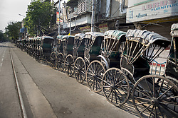 Hand pulled rickshaws are parked on B.B. Ganguly street in Kolkata. India is going through the 2nd phase of lockdown due to covid 19 pandemic. This is to curb the spread of Covid 19 in the country. The second phase is handled with more strict rules by the administration. Kolkata, West Bengal, India, April 19, 2020. Photo by Arindam Mukherjee/ABACAPRESS.COM