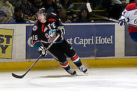 KELOWNA, CANADA, NOVEMBER 11: Colton Sissons #15 of the Kelowna Rockets skates on the ice as the Edmonton OIl Kings visit the Kelowna Rockets  on November 11, 2011 at Prospera Place in Kelowna, British Columbia, Canada (Photo by Marissa Baecker/Shoot the Breeze) *** Local Caption *** Colton Sissons