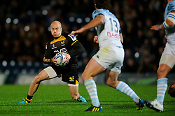 Wasps Scrum-Half (#9) Joe Simpson  in action during the second half of the match - Photo mandatory by-line: Rogan Thomson/JMP - Tel: 07966 386802 - 17/10/2013 - SPORT - RUGBY UNION - Adams Park Stadium, High Wycombe - London Wasps v Bayonne - Amlin Challenge Cup Round 2.