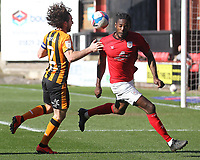 Hull City's Lewis Coyle in action with Crewe Alexandra's Omar Beckles<br /> <br /> Photographer Mick Walker/CameraSport<br /> <br /> The EFL League 1 - Crewe Alexandra v Hull City  - Friday 2nd April  2021 - Alexandra Stadium-Crewe<br /> <br /> World Copyright © 2020 CameraSport. All rights reserved. 43 Linden Ave. Countesthorpe. Leicester. England. LE8 5PG - Tel: +44 (0) 116 277 4147 - admin@camerasport.com - www.camerasport.com