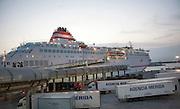 Acciona Trasmediterranea ferry terminal for Melilla at port of Malaga, Spain early morning