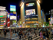 Night view of the famous Shibuya Crossing at Hachiko Square, Tokyo, Japan