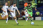 Forest Green Rovers Kaiyne Woolery(14) runs forward during the Vanarama National League match between Tranmere Rovers and Forest Green Rovers at Prenton Park, Birkenhead, England on 11 April 2017. Photo by Shane Healey.