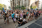 The pedestrian plaza west of the Flatiron building was filled with spectators for both performances. 23 Skidoo was promoted primarily on social media and as a flashmob event.